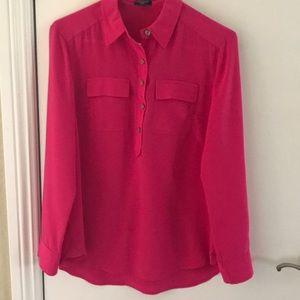 Pink Ann Taylor silk blouse size 0- worn twice!